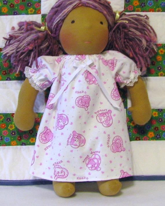 14 inch Waldorf doll's sleeping kitties flannel nightgown