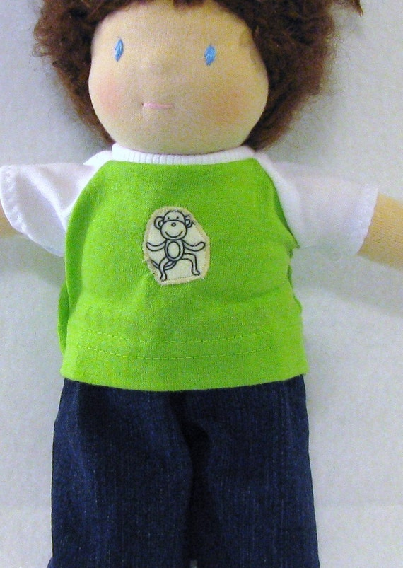 Bright green Waldorf 10 inch doll upcycled knit shirt with monkey patch