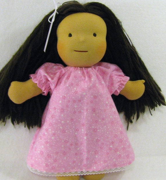 14 to 16 inch Waldorf doll's flannel nightgown in pink and white stars