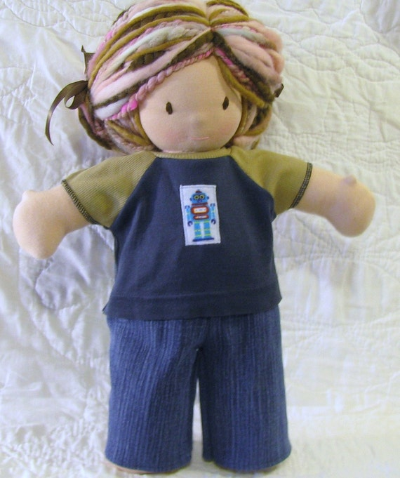 16 inch Waldorf upcycled knit tee blue robot patch