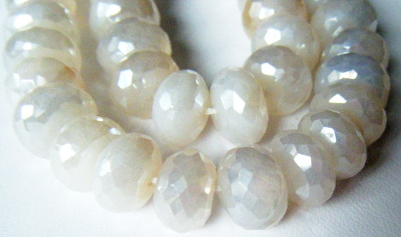 World Premiere WHITE CHALCEDONY With Pearlized Finish 10mm Faceted Rondelles