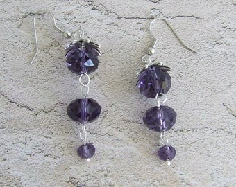 Reduced, Wisteria Crystal Dangle Earrings