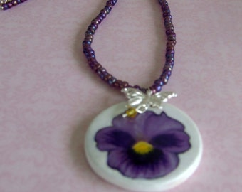 Hand Painted Pansy Pendant Necklace with Butterfly Charm