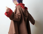 Hooded Cape coat Long sleeves - Red and Brown cape coat - Fall fashion coat - sz M