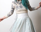RUNWAY SAMPLE White and Light blue lace Multiple Wrap dress skirt cape poncho