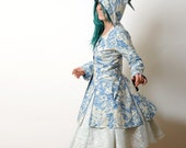SALE réserved for Charmini bridal Jacket with Goblin Hood -  Hooded Frock Coat with Blue birds and Flowers sz M