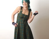 Green Plaid Dress with Gold trim and Hood - Hooded dress - size S-M