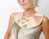 Textile neckpiece in Cream with gears and chains - Couture statement accessory - Bib necklace - One of a Kind wearable art