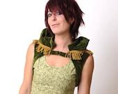 Green velvet Bolero with fringes and draped high epaulettes
