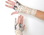 White and grey armwarmers - baroque print jersey -  Sz S