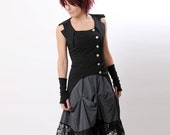 Swallowtail Sleeveless Steampunk Jacket - in pinstriped black