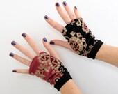 Pink and black fingerless gloves - baroque print velvet