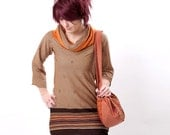 Jersey tunic in Seventies brown and orange print jersey - sz M - floral and stripes
