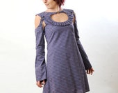 Louise dress in purple checkered cotton - removable sleeves