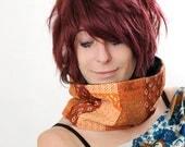 Orange cowl - Orange Scarf - Patchwork neckwarmer/ cowl/ tube scarf - silk, cotton, jersey