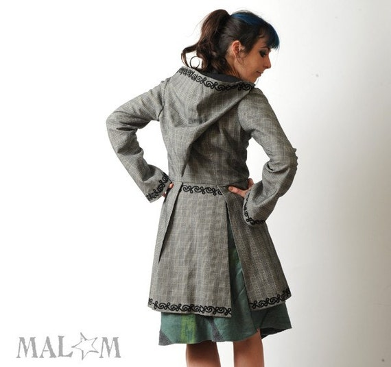 SALE Goblin Hood Frock Coat - Miss Marple -  Prince of Wales and Swirls Silver Grey and Black