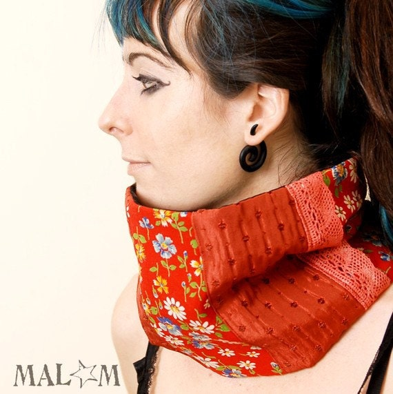 SALE Red and Floral Patched neckwarmer/ cowl/ tube scarf