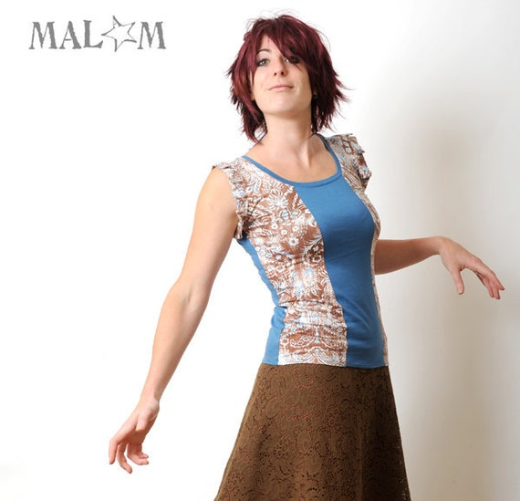 Blue Brown Tee with butterfly sleeves - lagoon blue and brown, white print jersey