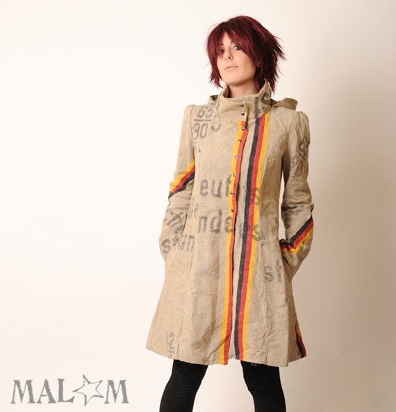Repurposed Clothing - Recycled Coat with Goblin Hood and tall collar - Repurposed German postal bags - Eco fashion