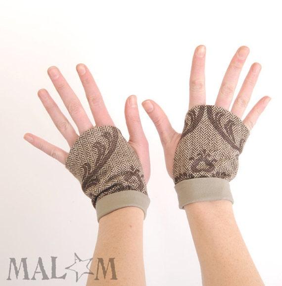 Brown Fingerless Gauntlets - brown baroque mittens