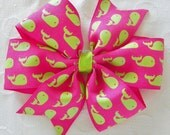 Pink and Lime Green Whale Pinwheel Bow