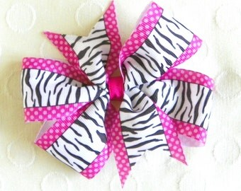 Zebra and Dots Pinwheel Bow