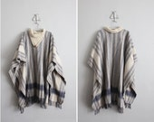 c l e a r a n c e  - 1970s vintage striped wool fringe blanket cape