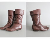1980s vintage dark chestnut leather pirate boots 10