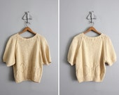final sale / 1980s vintage butter yellow silk & cotton summer sweater