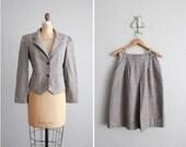 1970s vintage gray tweed wool skirt suit