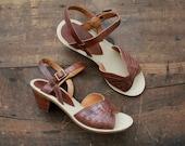 1970s vintage wooden heel leather sandals 6