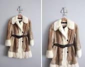 1960s vintage belted rabbit fur coat