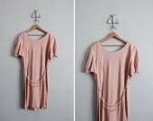 RESERVED final sale item / 1980s vintage chain belt dusty rose dress