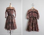 final sale / 1950s vintage sheer marble print dress