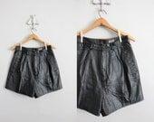 1980s vintage black leather shorts