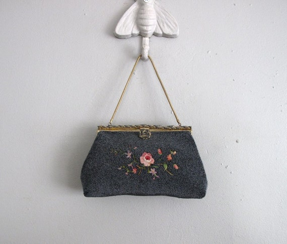 1940s vintage french blue beaded cocktail clutch