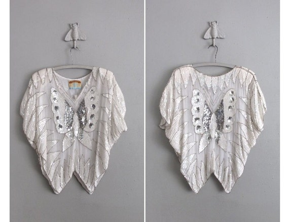 vintage silver sequin butterfly cocktail blouse