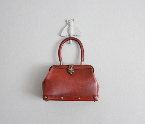 1960s vintage large redwood cordovan leather handbag