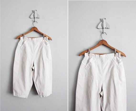 final sale item / 1950s vintage pale stripe cotton culottes