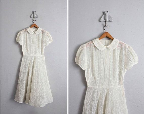 1950s vintage sheer eyelet tea dress