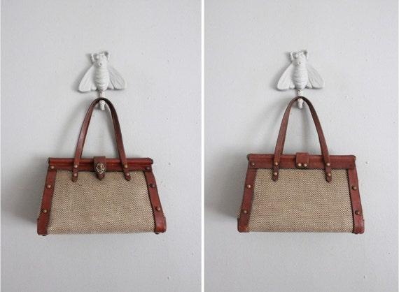 1960s vintage John Romain tweed & leather handbag