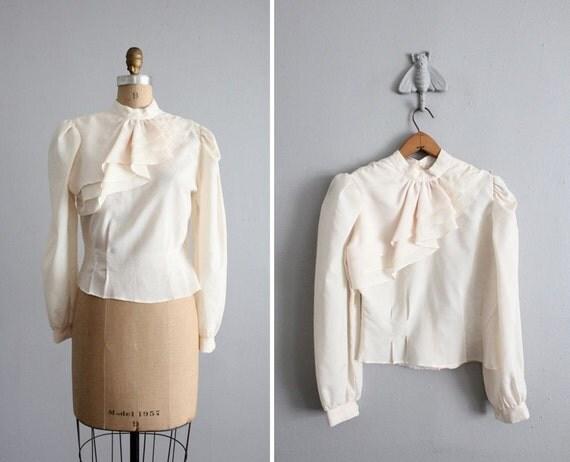 1970s vintage cream asymmetrical ruffle blouse