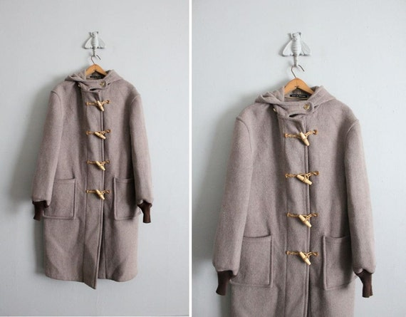 1970s vintage English wool toggle coat