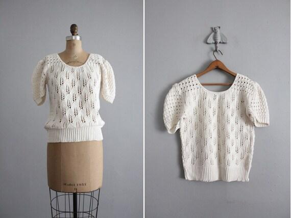 1970s vintage cotton openwork summer sweater