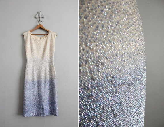 1960s vintage ombré sequin wiggle dress