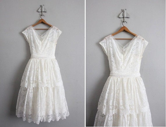 1950s Vintage White Lace Wedding Dress By Allencompany On Etsy