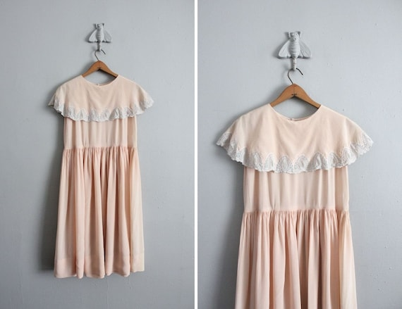 1920s vintage pink silk cathedral ruffle dress