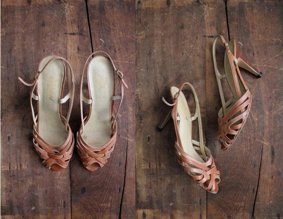 1970s vintage strappy leather slingback heels size 9