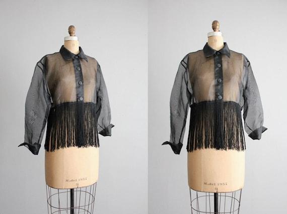 vintage sheer black fringe blouse