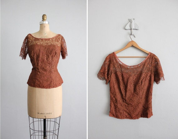 1950s vintage lace sweetheart blouse